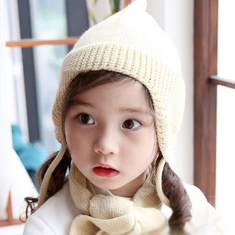 Baby Elf Hat Kids Knitting Soft Hat Newborn Infant Child Knit Warm Cap Horns Ear Cute Crochet Braided Knit Beanies Hat