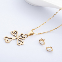 R&X Fashion Dubai Sieraden Stainless Steel Jewelry Sets Romantic Beads Necklace/earrings For Woman Sets Bridesmaid African Party