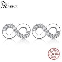 2882d463ee16 FOREWE 925 pequeños infinito amor Stud pendientes con CZ cristal de la boda pendiente  para el regalo de la joyería de las muchac.