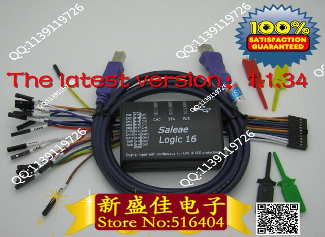 USB Analisador Lógico 100 M taxa de amostragem máxima, 16 Canais, amostras 10B, 1.1.34, saleae16, MCU, ARM, FPGA debug ferramenta