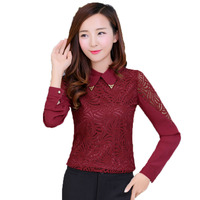 Office Lady Lace Patchwork Shirts White Wine Red Black Tops Woman Crochet Blouses Women S Slim