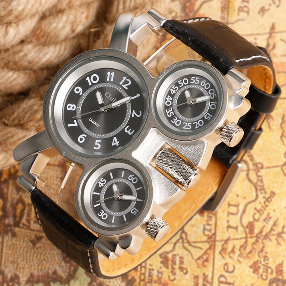 Unique Watches for Men Three Time Zone Large Big Size Irregular Dial Real Leather Strap Military Men's Wristwatches Male Clock 2
