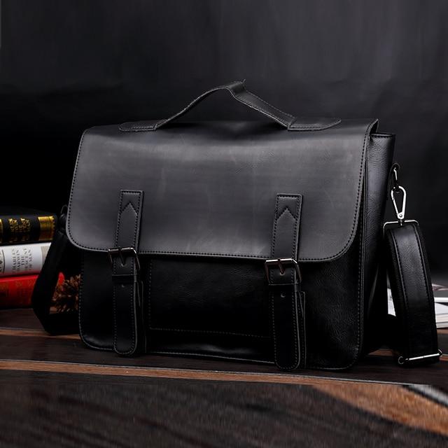2019 Новая модная кожа Crazy Horse PU кожа ретро повседневная мужская сумка британский почтальон портфель на ремне сумка для ноутбука