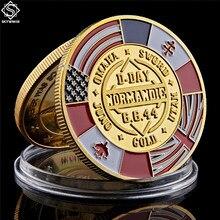 Wwii 70th aniversário lembrança moeda arromanches normandia guerra militar desafio moeda colecionáveis