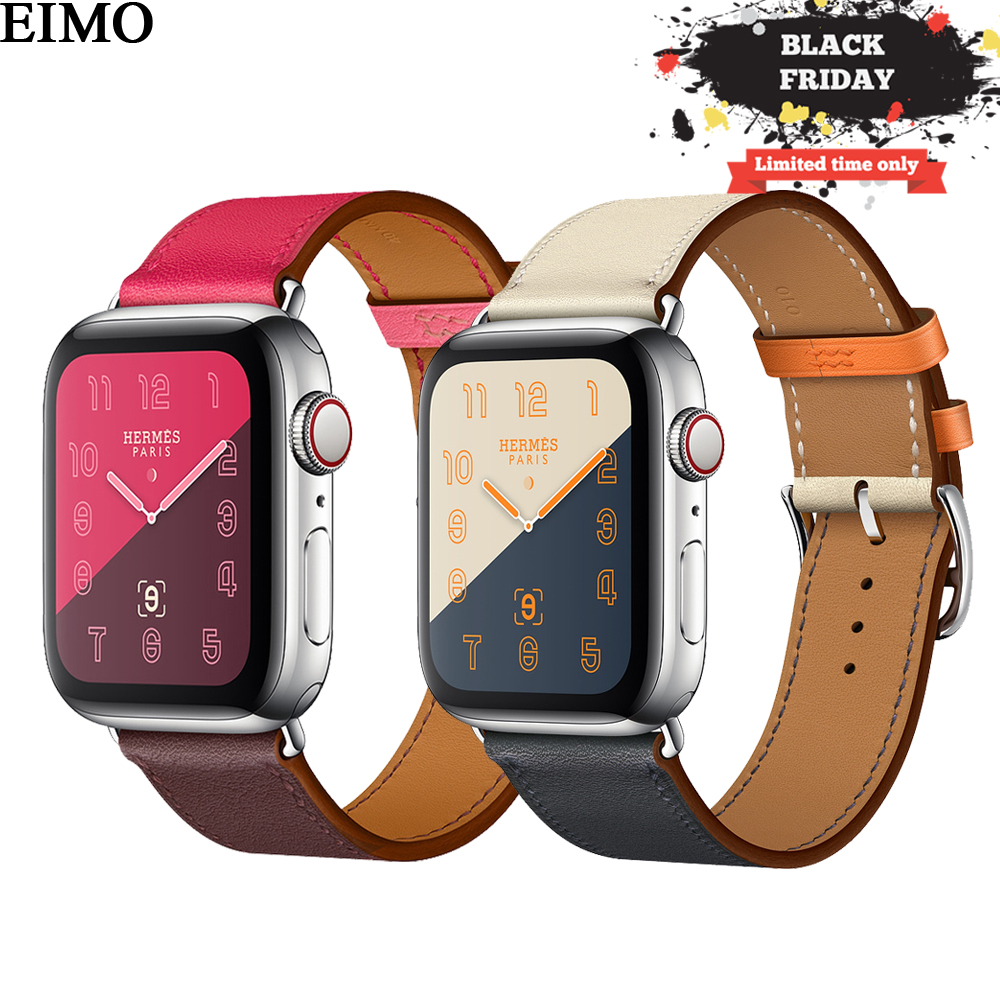 EIMO Strap for apple watch Band 4 44mm 42mm iwatch series 4 3 2 1 40mm 38mm Genuine Leather Single tour bracelet Wrist Watchband цена