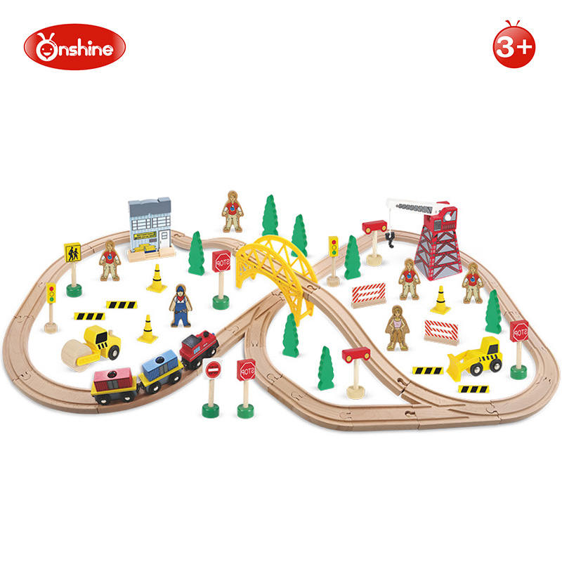 70pcs Novelty Wooden Early Childhood Educational Toy Construction Train Set Railway Track Building and Vehicle Block Kids Gift 78pcs hand crafted wooden train set triple loop railway track kids toy play set