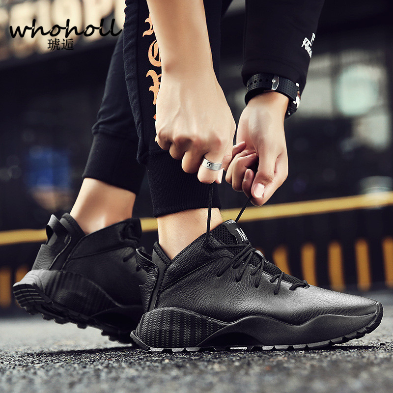 WHOHOLL 2018 Spring Men Shoes Luxury Trainers PU Leather Casual Adult Spring Men Flats Black Sneaker Footwear Zapatos De Hombre