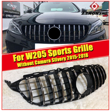GT R Style grills W205 C63AMG C180 C200 C300 C350 C-Class Grille grill silver Fits For MercedesMB 2015-2018 without Camera/sign