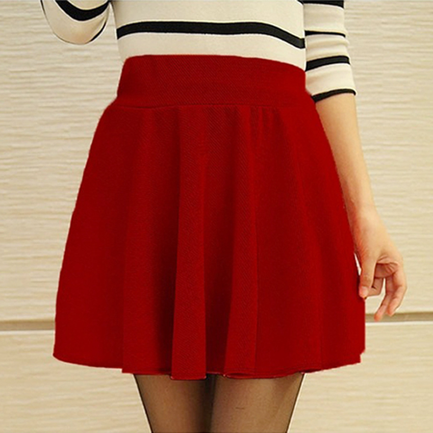 2d79eb5fbef8 Sexy Skirts Womens 2016 Fashion Fall Winter Mini Skirt Plus Size XL High  Waist Pleated Skirt Black Tenis Skater ...
