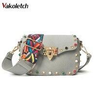 High Quality PU Leather Women Crossbody Bags Fashion Color Rivet Design Women Shoulder Bags Color Shoulder