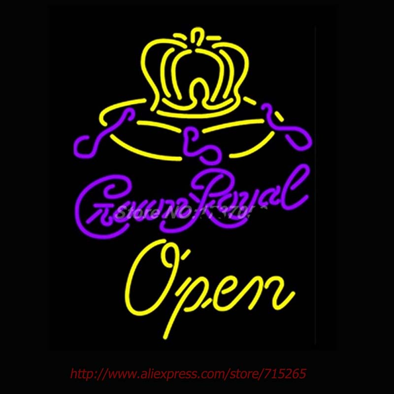 Crown Royal Open Neon Sign Handcrafted Neon Bulbs Real GlassTube Club Decorate Hotel Store Display Fast