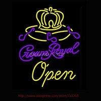 Crown Royal Aberto Sinal de Néon Artesanais Lâmpadas de Néon Real GlassTube Club hotel Decorar Loja Exibição Rápida navio sinal Garagem 30x24