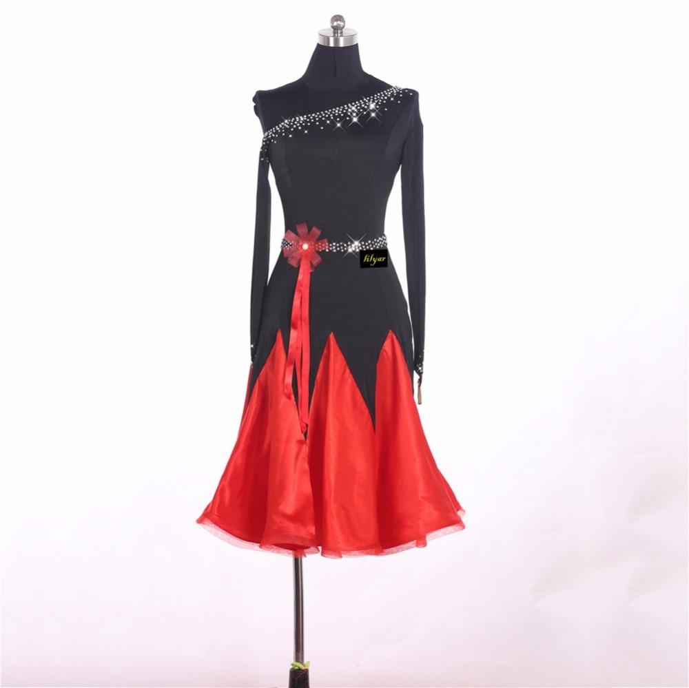 Ladies Latin Dancing Dresses Black Red Long Sleeve Skirt Beauty Women Female Stage Professional Chacha Ballroom Garments W1048