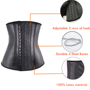 Image 2 - HEXIN 100% ยางLatexเอวเทรนเนอร์บิ๊กตะขอเหล็กBonedเอวเทรนเนอร์รัดตัวสีดำBody Shaper Underbust Fajas Shapewear