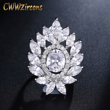 CWWZircons Exclusive Women Party Costume Jewelry Marquise Cut Cubic Zirconia Big Cocktail Rings Adjustable Size R007
