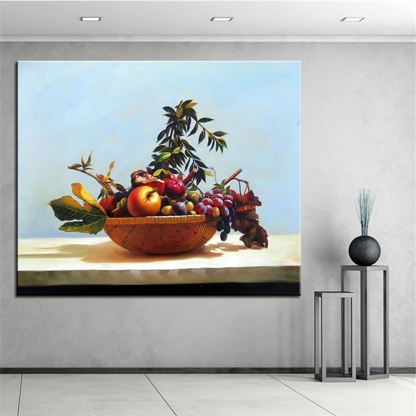 ᗛbambou Fruits Panier Original Nature Morte Peinture Huile