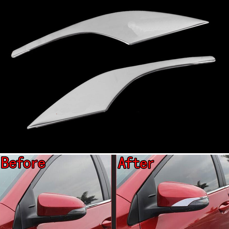 2pcs chrome abs car side door mirror rearview stripe cover trim styling sticker fit for toyota