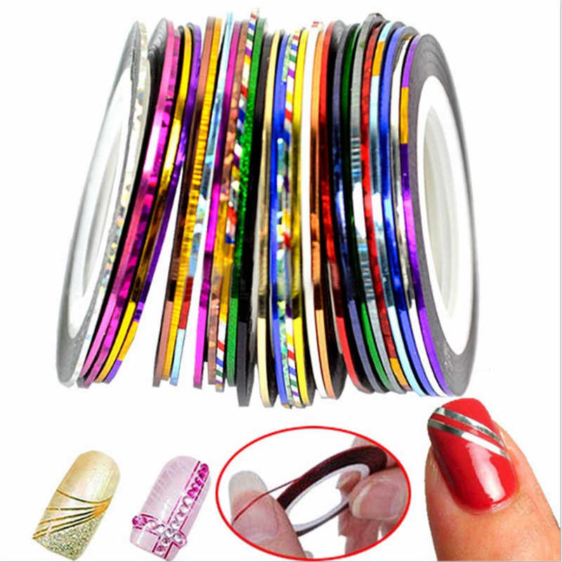 30 Rolls Nail Art Striping Tape Sticker Line Tips Self-Adhesive Nail Art Decoration Sticker DIY Nail Tools Muti-color #6