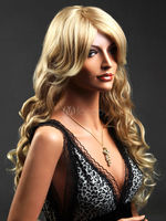 free shipping Traditional Blonde Synthetic Corkscrew Curls Long Wig For Woman Hair Wigs