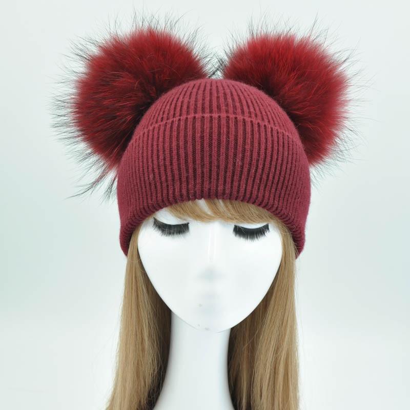 Шапка с помпоном из натурального меха, женские зимние шапки, вязаные шерстяные шапки, шапки-бини для девушек, женская натуральная меховая ша...