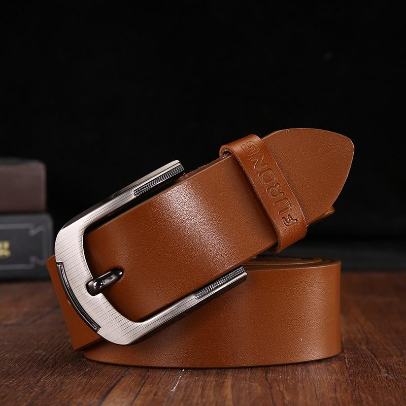 FURONG 2019 New Luxury Brand Leather   Belt   Men Waist   Belt   Luxury Cowskin Vintage   Belt   Men Accessories Casual Solid White Brown