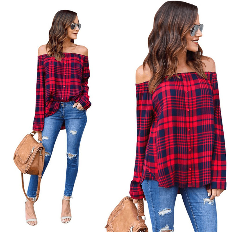 c73b169eabb29c Women Red And Black Plaid Strapless Shirt Long Sleeve Slim Single-Breasted  Shirts Striped Top Off Shoulder Sexy Blouses | AMO
