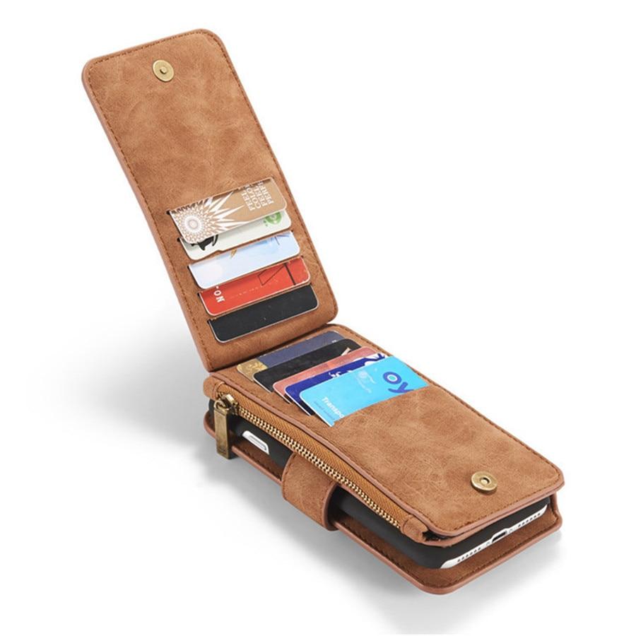 Untuk iPhone 6 Kasus Kulit Sapi Kulit 2in1 Balik Dompet Telepon Bag - Aksesori dan suku cadang ponsel - Foto 2