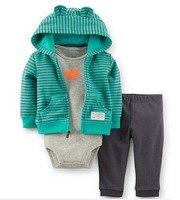 Free Shipping Carters Bebe Sets Coat Romper Pants 3pcs Set Baby Boy Clothing Infant Clothes Autumn