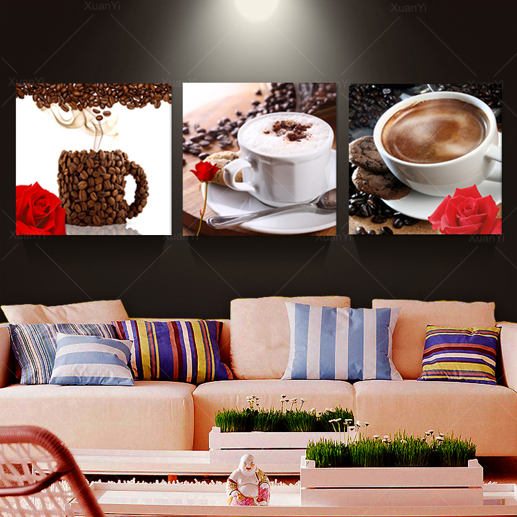 3 Panel Abstract Printed Stil Life Coffee Painting Canvas