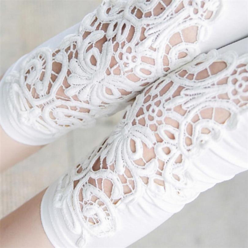 VIIANLES Summer Capris 2020 Hot Pants Fashion Hollow Out Capris Skinny Elastic Waist Mid Trousers Points Calf-Length Short Pants