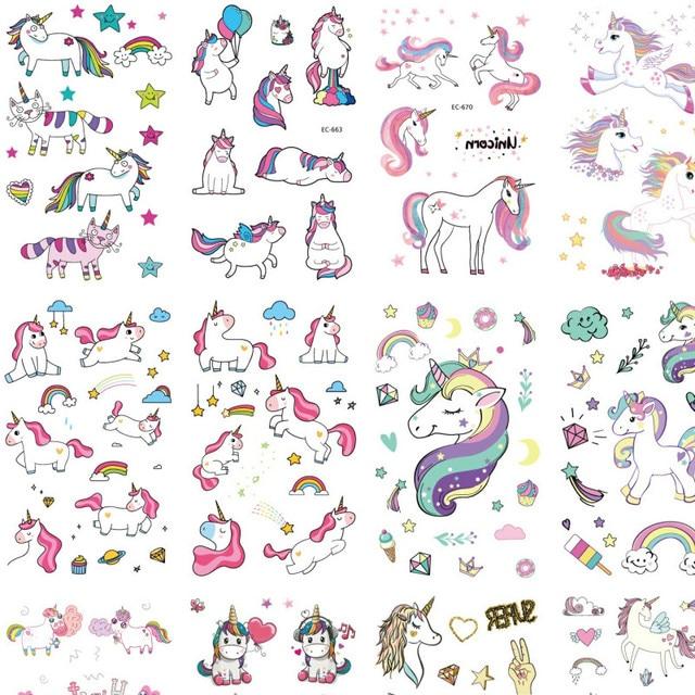 25 Sheets Waterproof Unicorn Tattoo Temporary Tattoo Stickers For Children Fake Hand Joker Tattoo kids Tattoo Stickers Face Tato