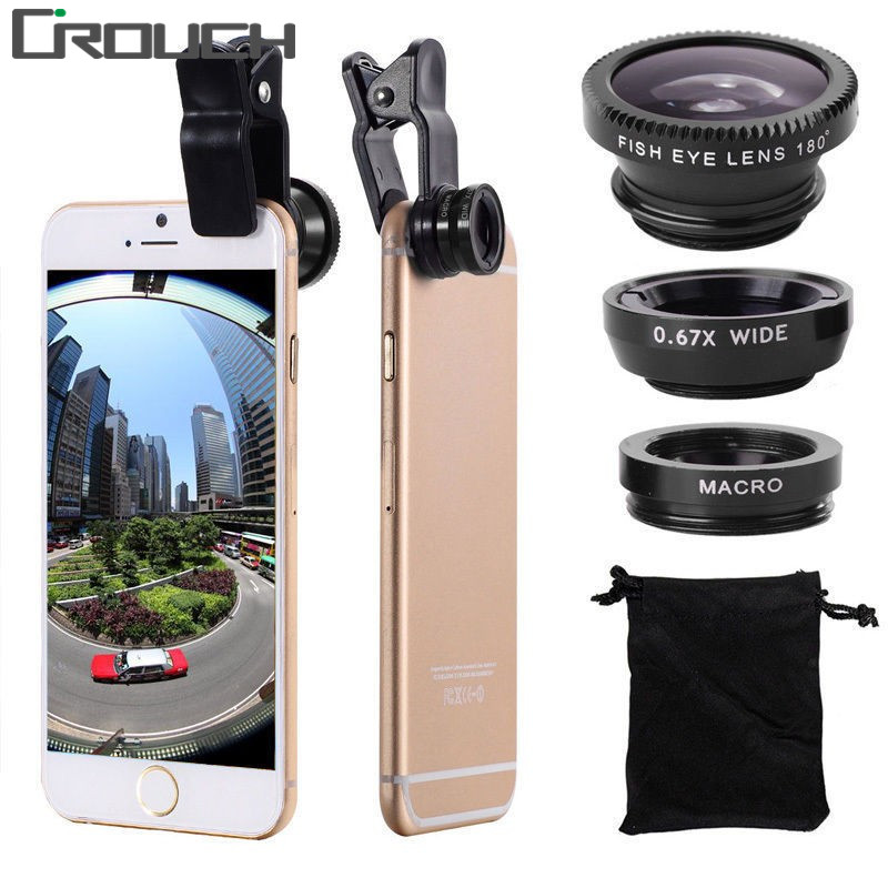 Crouch Designer Store Crouch 3 in 1 Wide Angle Macro Fisheye Lens Kit + Clip Smartphone Mobile Phone lenses Fish Eye for iPhone 6 6s 7Plus Camera L
