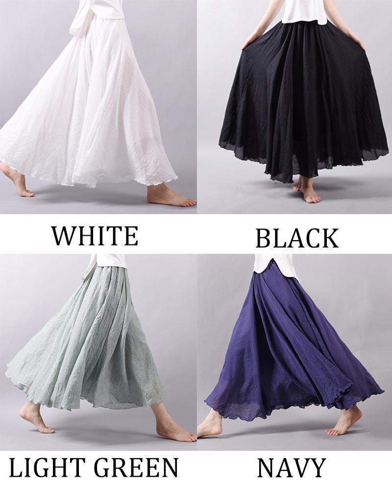 Women's Elegant High Waist Linen Maxi Skirt 2021 Summer Ladies Casual Elastic Waist 2 Layers Skirts saia feminina 20 Colors SK53