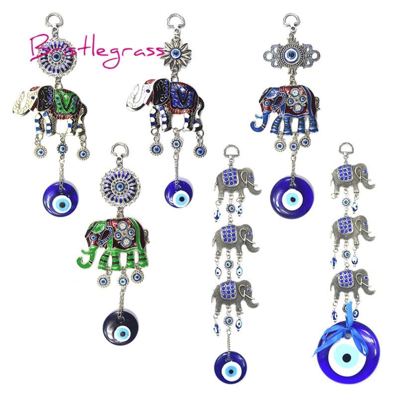 Bristlegrass Turkish Blue Evil Eye Glitter Horseshoe Amulets Lucky Charm Wall Hanging Pendant Pendulum Blessing Protection Decor Home & Garden
