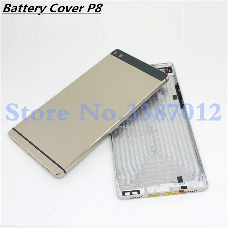 Original Aluminum Rear Housing Battery Cover For Huawei Ascend P8 GRA-L09 Back Door Replcement Battery Case With Side Button