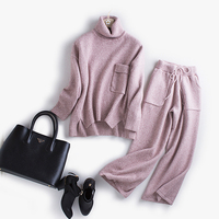 new fahion cashmere wool blends knit women turtleneck sweater suits pullover wide leg pant 2pcs/set one&over size