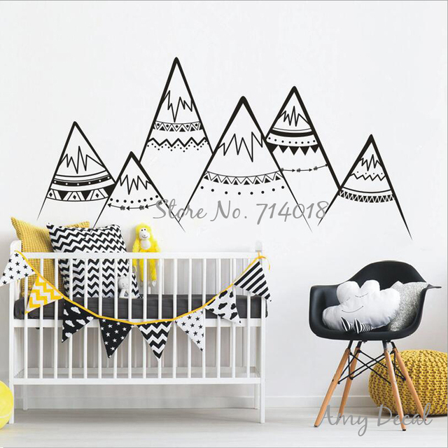 Tribal Mountains Wall Decal Woodland Mountains Wall Art Sticker Tribal Nursery  Decor Kids Room Decoration Vinyl