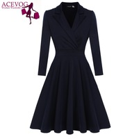 ACEVOG Women Casual Dress Sexy Vestido De Festa Autumn Winter Elegant Party Dresses Vintage Retro Big