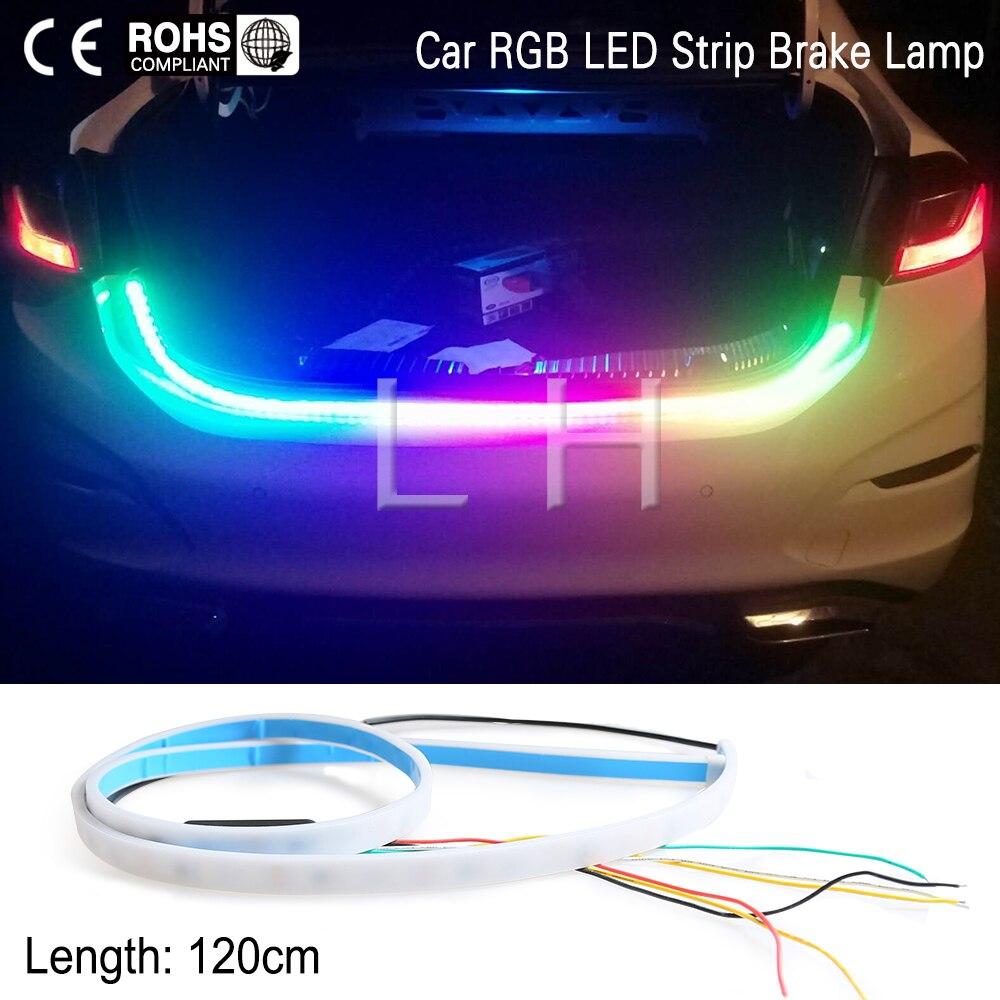 120 cm RGB bunten fließende LED 47,6 zoll streifen für kofferraum dynamische blinkers führte schalten licht Schwanz Trunk lichter LED Warnung licht