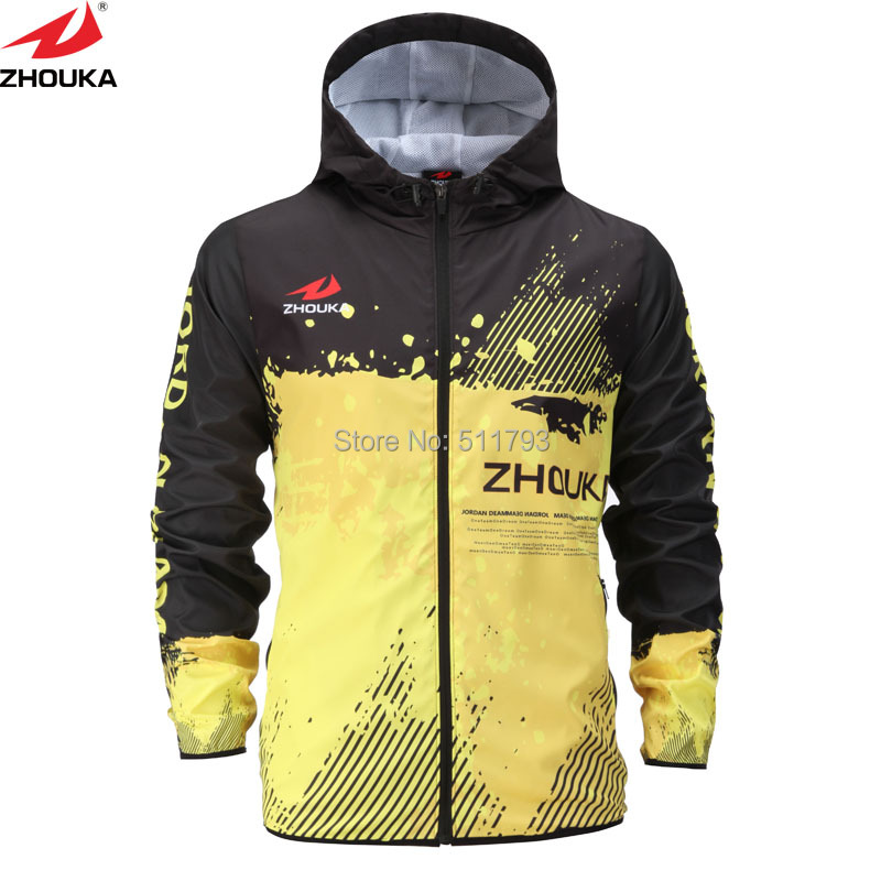 Black Yellow Zipper Windbreaker Hoodie Soccer Trainning Swimsuit Customizing Sublimation Expertise