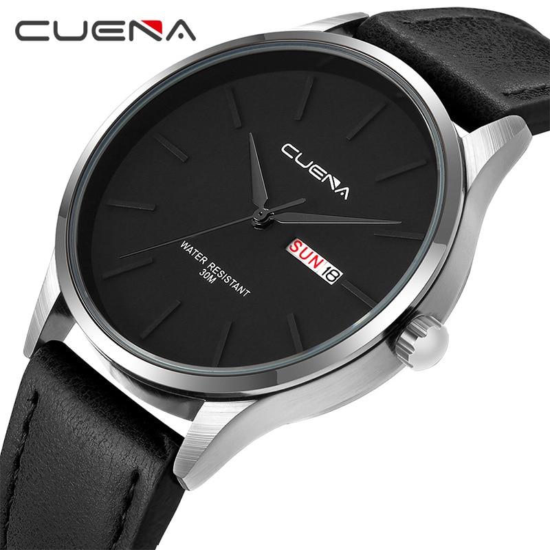 CUENA Men Watch Leather Watches Quartz Watch Fashion Simple Design For Men 30M Waterproof Simple Calendar Watch High Quality