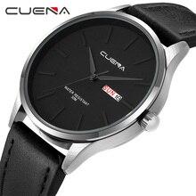 CUENA Для мужчин кожа часы кварцевые часы Мода и простой дизайн для Для мужчин 30 м Водонепроницаемый простой календарь часы Высокое качество