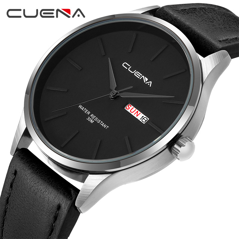 CUENA Watch Men Leather Watch Quartz Watch Fashion Simple Design For Men 30M Waterproof Simple Calendar Watch Relogio Masculino