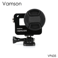 Vamson for Gopro Hero 7 6 5 Accessories CNC Aluminum Case Metal Protective Housing case Frame + Lens Cap Cover VP635