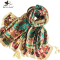 [Marte&Joven] Ethnic Style Paisley Floral Scarf Wrap for Women Spring Autumn Cotton Blends Long Shawl Ladies