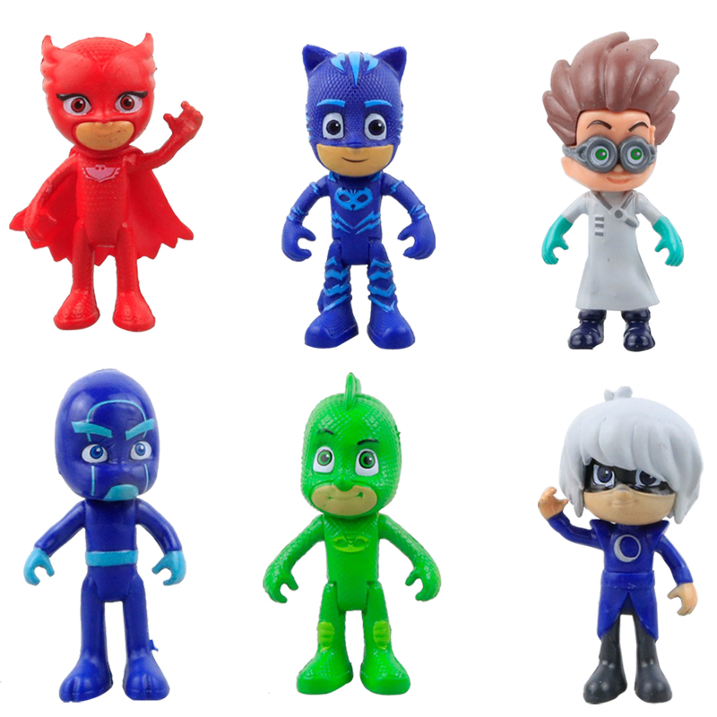 6Pcs/Set Pj Action Figures Catboy Owlette Gekko Cloak Cosplay Cape Mask Belt Arm Guard Toys Boy Birthday Gift Plastic Dolls