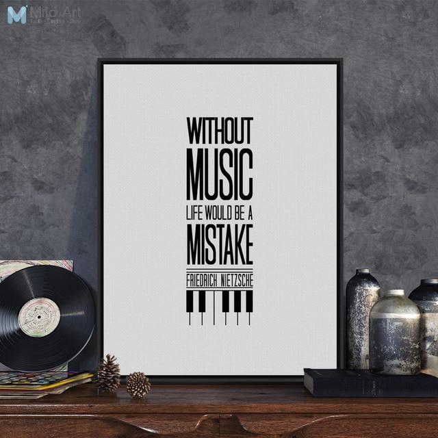 Wunderbar Modernen Schwarz Weiß Minimalistischen Typografie Musik Zitate A4  VQ21