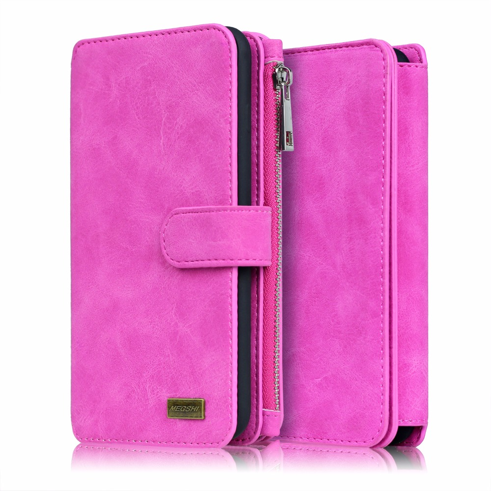 MEGSHI 2 in 1 Second Leather Wallet Case for Samsung S7 S7 Edge cover Zipper Multifunctional