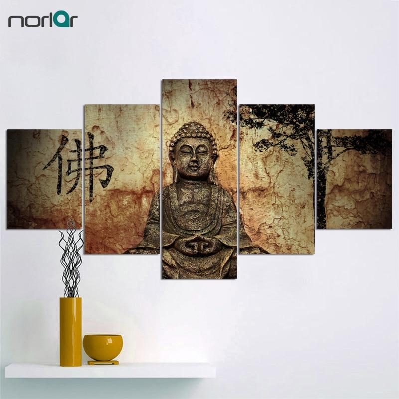 5 kusů Obrovský Buddha Abstraktní malba na plátně Umělecká malba na olej Tisk Tapeta Domovská stránka Dekorace Bez rámečku