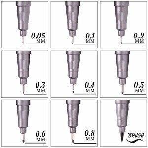Пигментная подводка, 1 шт., Pigma, микрон, чернильный маркер, 0,05, 0,1, 0,2, 0,3, 0,5, 0,6, 0,8, разные наконечники, черные подводки для рисования